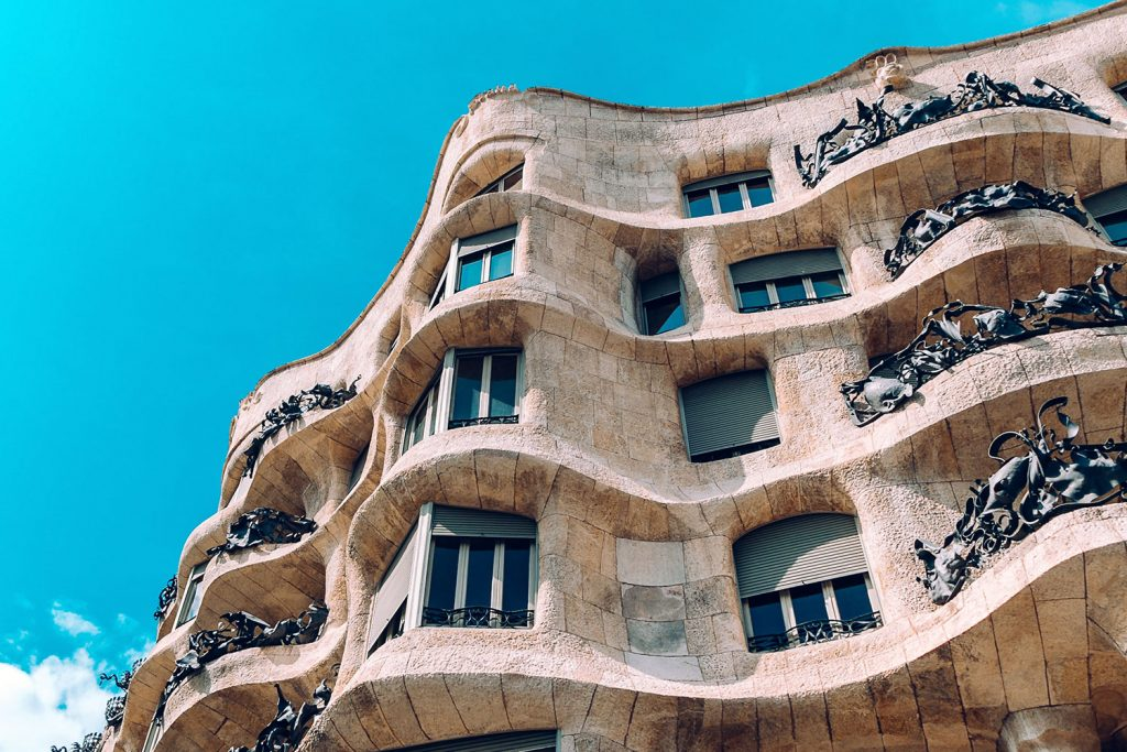 Casa Milà Tour. Facade picture from almost the entrance of the building of la pedrera