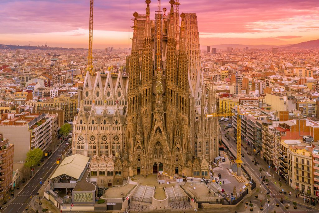 Sagrada Familia Tour. Aerial shot of the cathedral from the entrance side